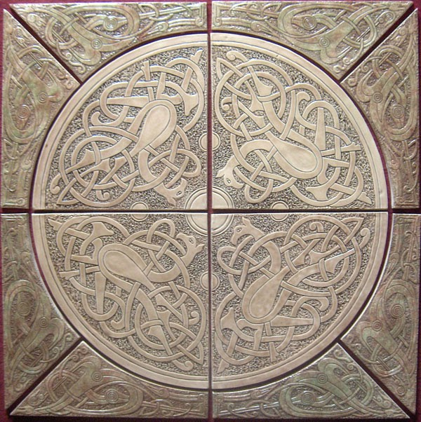 Decorative handmade ceramic tile celtic deer and dragon