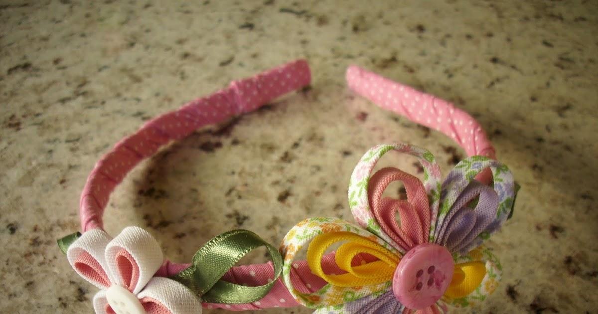 Flor com Art: Tiara decorada em tecido rosa de bolinha branca com flor
