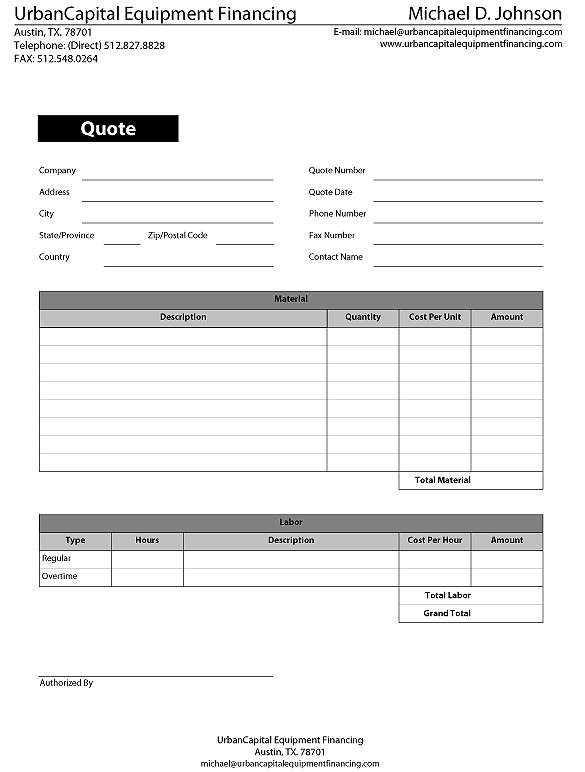 Equipment quote forms templates spiritdancerdesigns Images