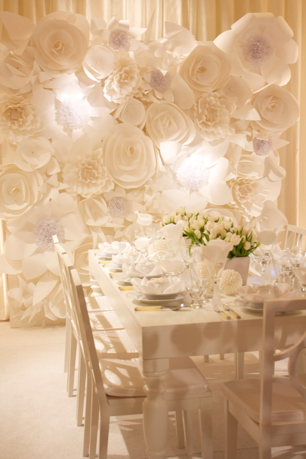 The white wedding craft and couture for Back ground decoration