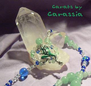 Frog, necklace, green, blue, Frosch, Halskette Halsschmuck grün, blau
