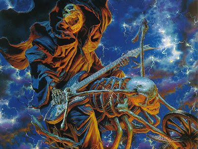 Horror wallpaper of scary skeleton playing guitar