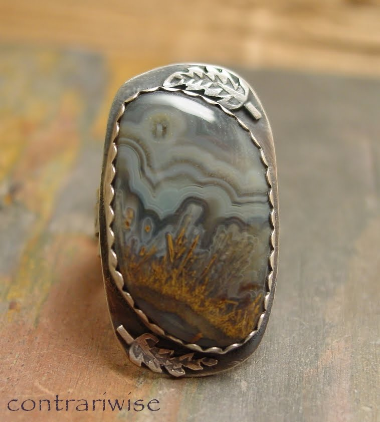 Contrariwise ramblings: Black Lace Agate Landscape - Sterling Ring
