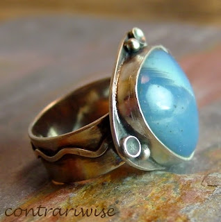 swedish blue slag sterling ring