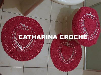 Catharina Crochê: Jogos de Banheiro Coração - variações