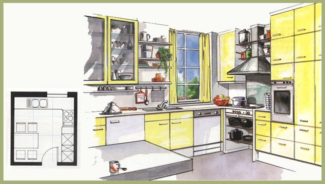 L Arrangement in kitchen