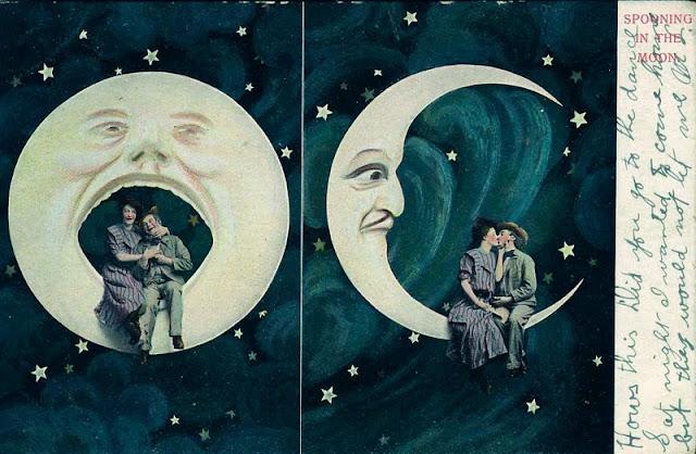 открытка, луна