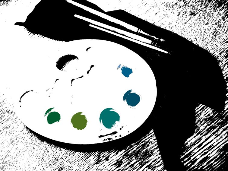 палитра, кисти, краски, художественные принадлежности
