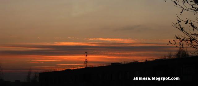 закат, небо, облака, природа