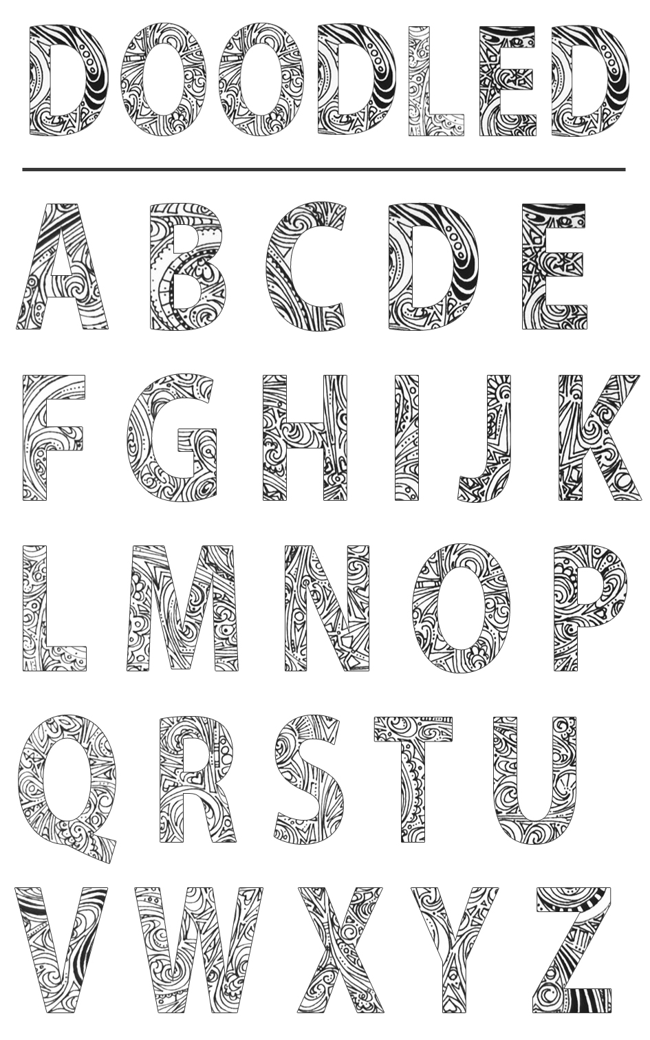 I Recently Entered A Font Alphabet Content Thanks For The Tip Brianna Here Are 3 Of My Fonts All Incorporating Doodles