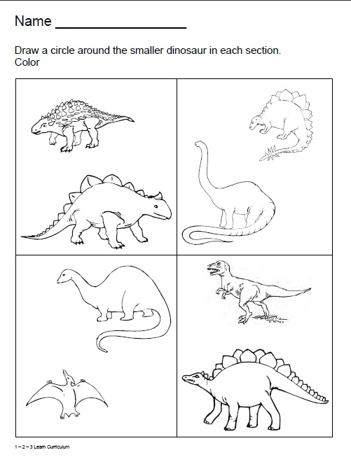 Dinosaur Kindergarten Worksheets
