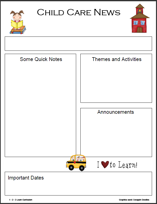 1 2 3 learn curriculum monthly newsletter templates for Childcare newsletter templates