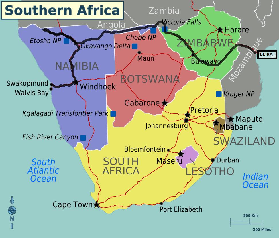 Delta Del Okavango Mapa en el Delta Del Okavango o
