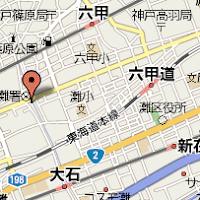 灘区民ホール周辺地図(赤いマーカーが灘区民ホールです)