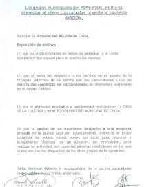 MOCIÓN DIMISIÓN DEL ALCALDE