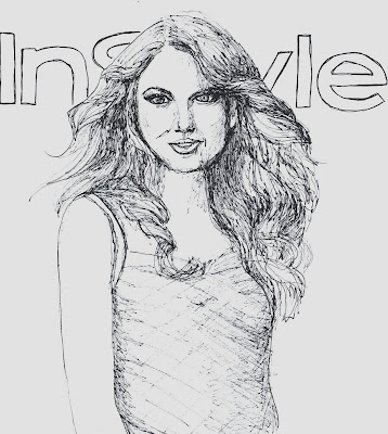 fashion illustration of Taylor Swift by Liz Blair
