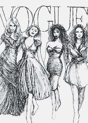 fashion illustration of cast of