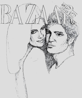 fashion illustration of Kristin Stewart and Robert Pattinson by Liz Blair