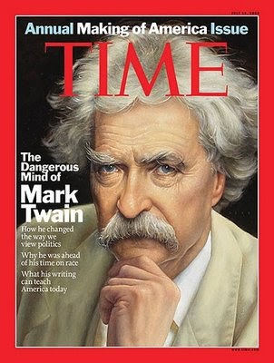 What does mark twain write about and how does he write about it?