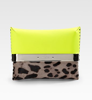 Jimmy Choo Daphne Leopard and Neon Clutch
