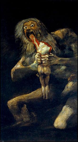 юпитер пожирает своих сыновей, гойя, страшные картины, пугающие картины, ужасы
