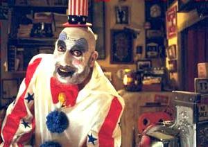 дом 1000 трупов, капитан сполдинг, страшный клоун, слэшер, роб зомби