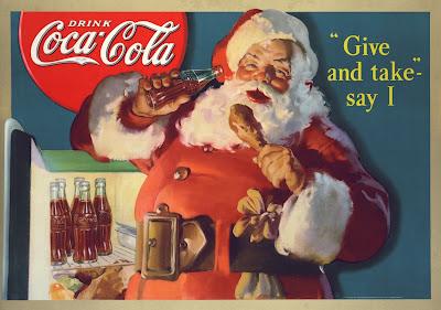 ретро новый год, новый год шестидесятых, ретро реклама кока-кола, coca-cola, санта клаус ретро, дед мороз ретро