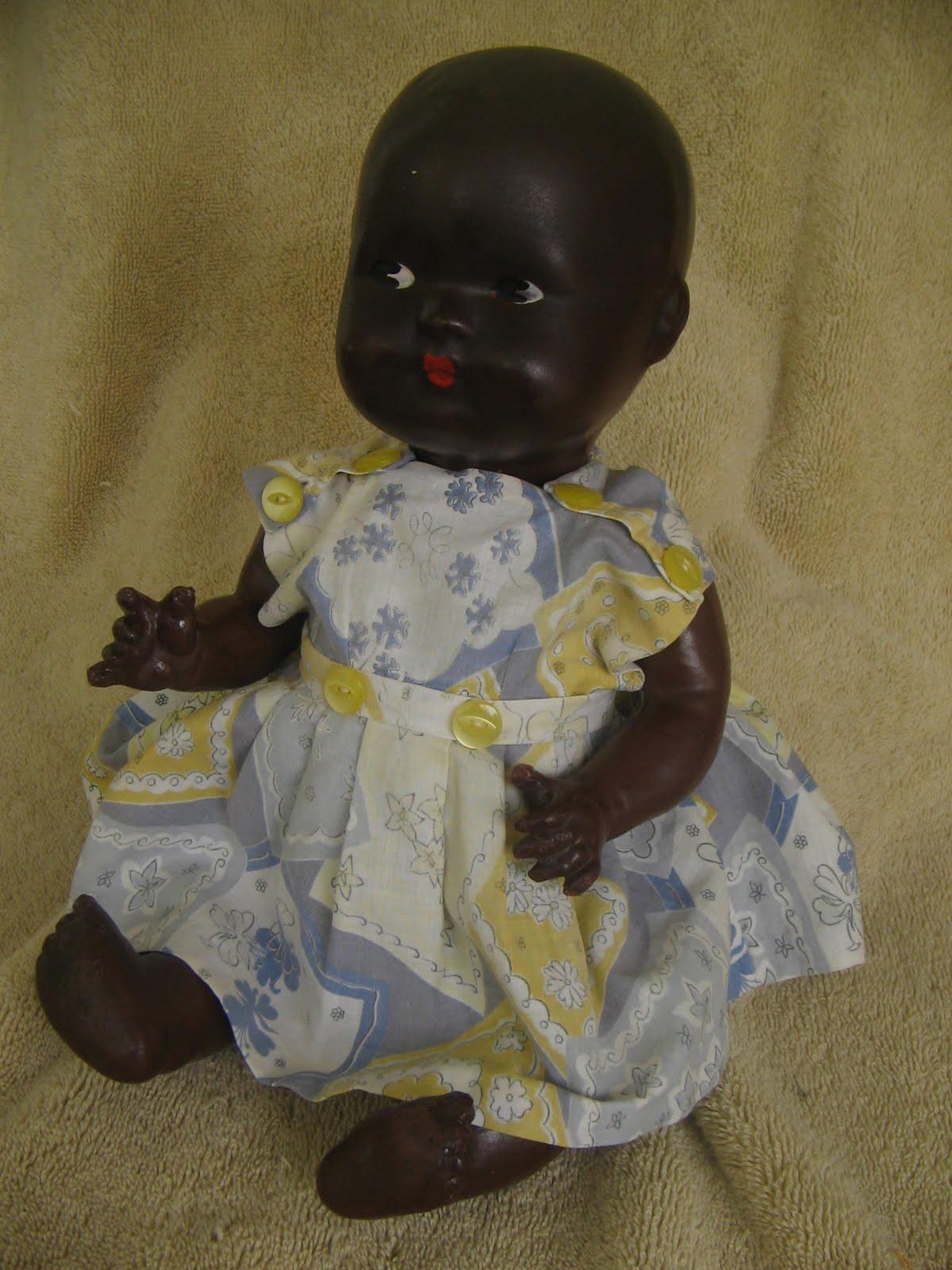 Antique Amp Vintage Dolls Black Bisque Papier Mache Antique Doll