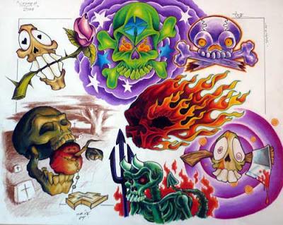 Skull Tattoo Flash Design. Butterfly Tattoo Flash Design