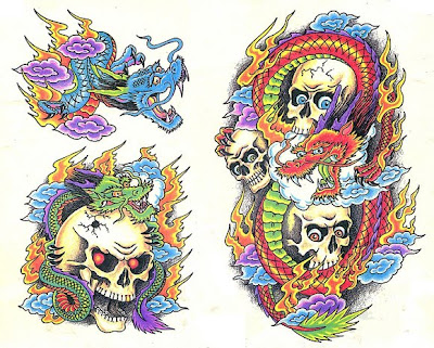 Skull Tattoo Flash Design