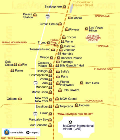 vegas hotel map. las vegas strip map aria.