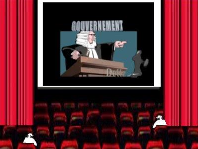Trois pelés et un tondu regardent le film