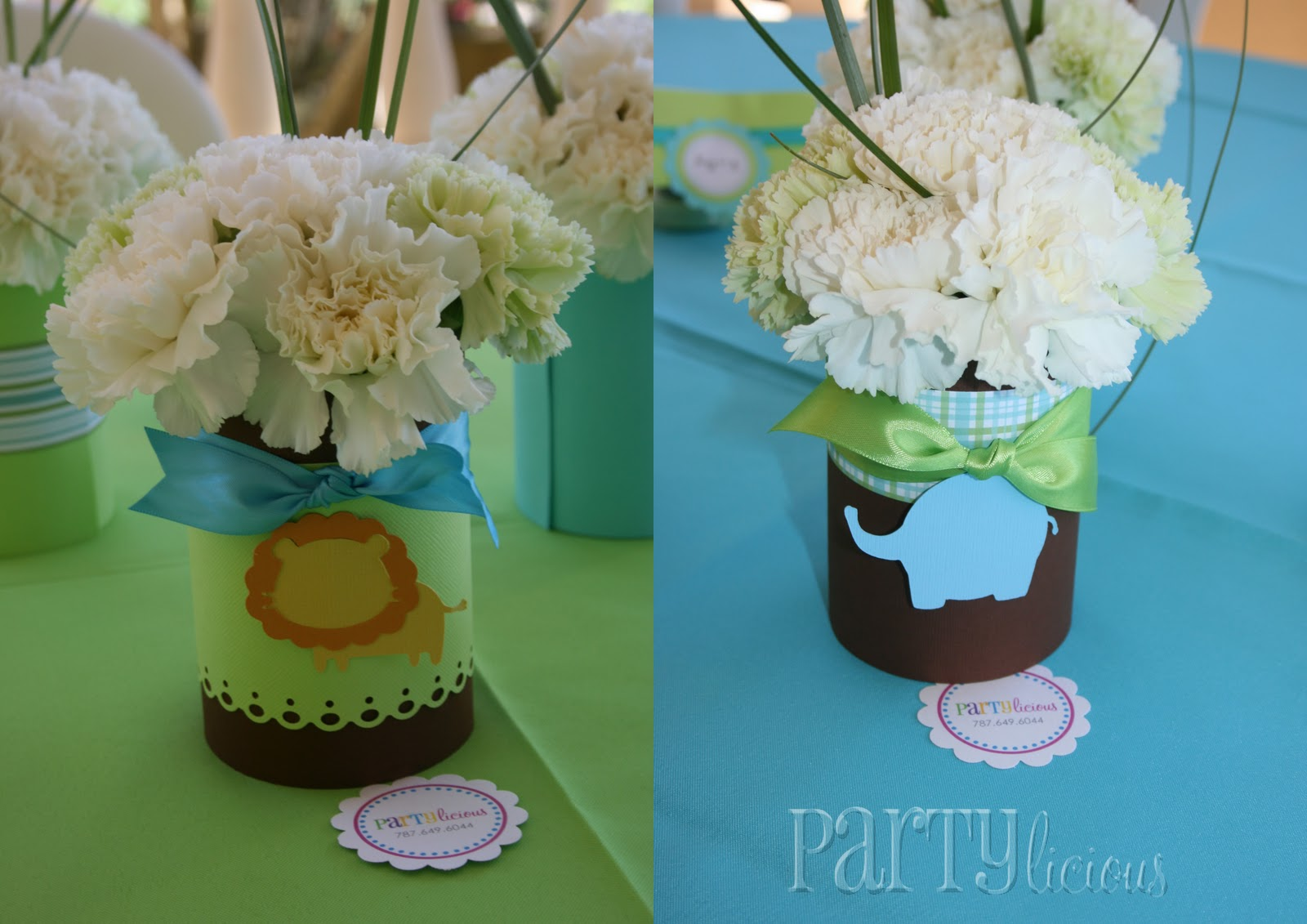 Partylicious events pr partylicious and safari baby shower for Baby shower decoration centerpieces