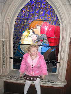 Top Ender in front of the Dinsey Land Paris Stained glass window of Sleeping Beauty 2007