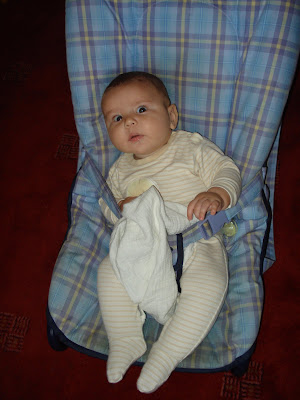 Baby Boy on Top Enders First Day of School in his Bouncy Chair 2008