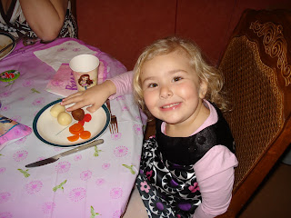 Top Ender eating Swedish Meatballs on her fourth birthday