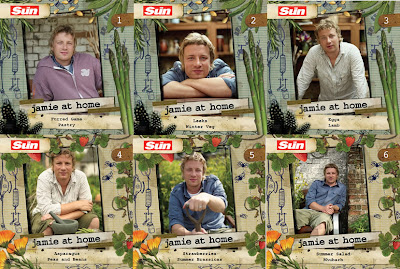 The cardboard sleeved DVD's of Jamie Oliver at Home from The Sun