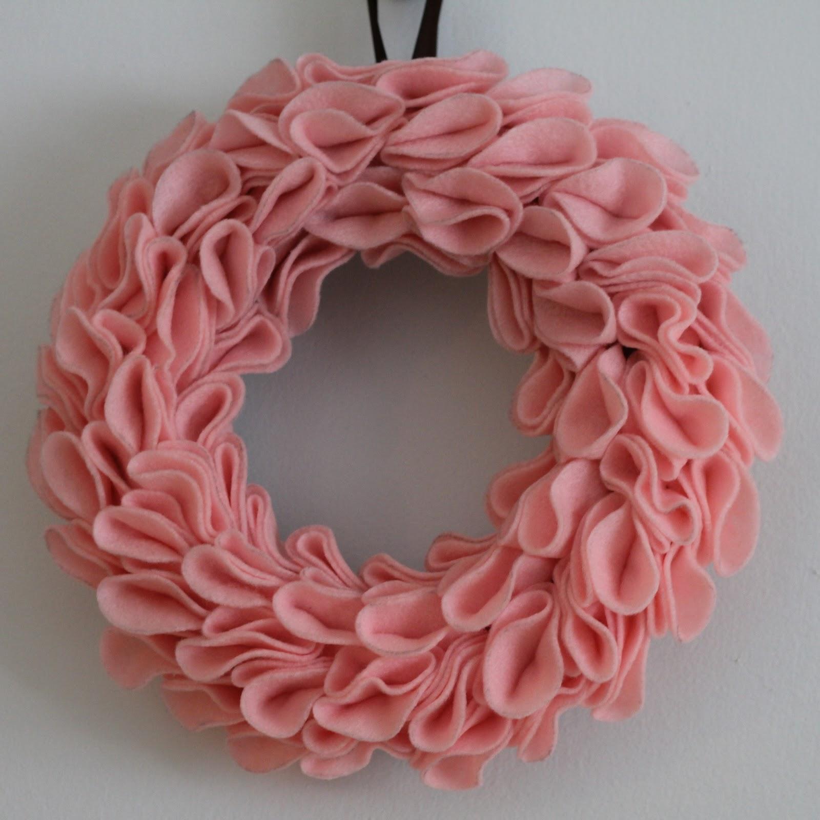 Dill Pickle Design Felt Rosette Wreath 1st Attempt