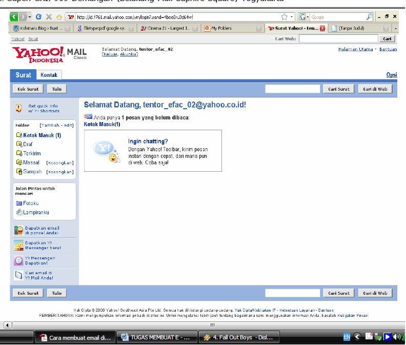 Klik Lanjutkan untuk membuka Yahoo mail Anda