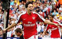 Samir celebrates his debut goal