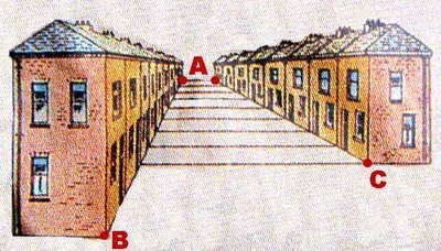 Parallel house line optical illusion