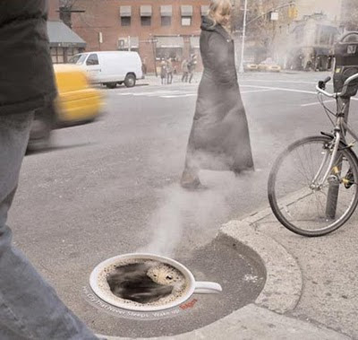 Hot Coffee on the street illusion