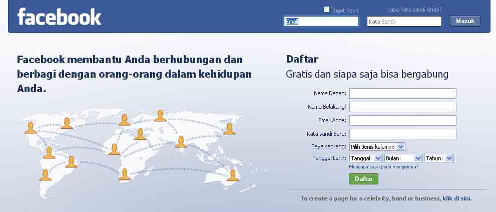 ternyata sangat mudah membuat sebuah facebook