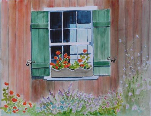 Window Sill Watercolor Painting & Bunnyu0027s Artwork: Window Sill Watercolor Painting