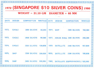 singapore  10 silver coin from