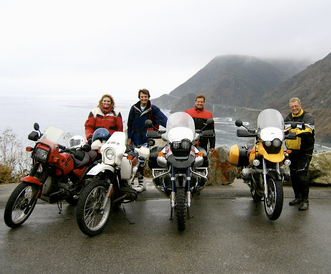 BMW GS family.  Sister Kim, brother Bob, myself and Dad.  California coast.