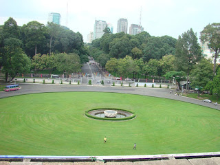 Looking outside from Independence Palace