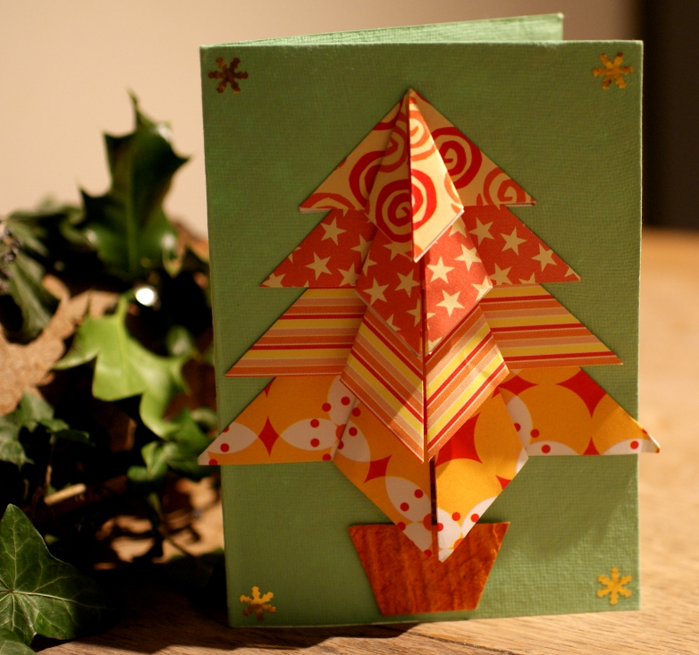 Lightly enchanted origami tree cards for How to make folded christmas cards