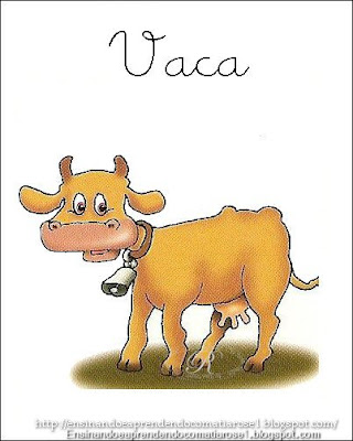 Vaca+1 Alfabeto aprendendo com os animais para crianças