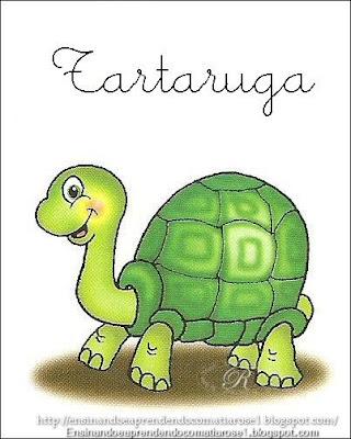 Tartaruga+1 Alfabeto aprendendo com os animais para crianças